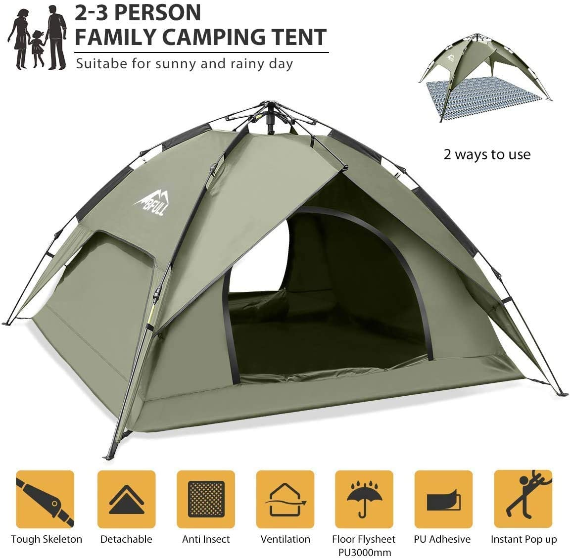 BFULL Instant Pop Up Backpacking Tents