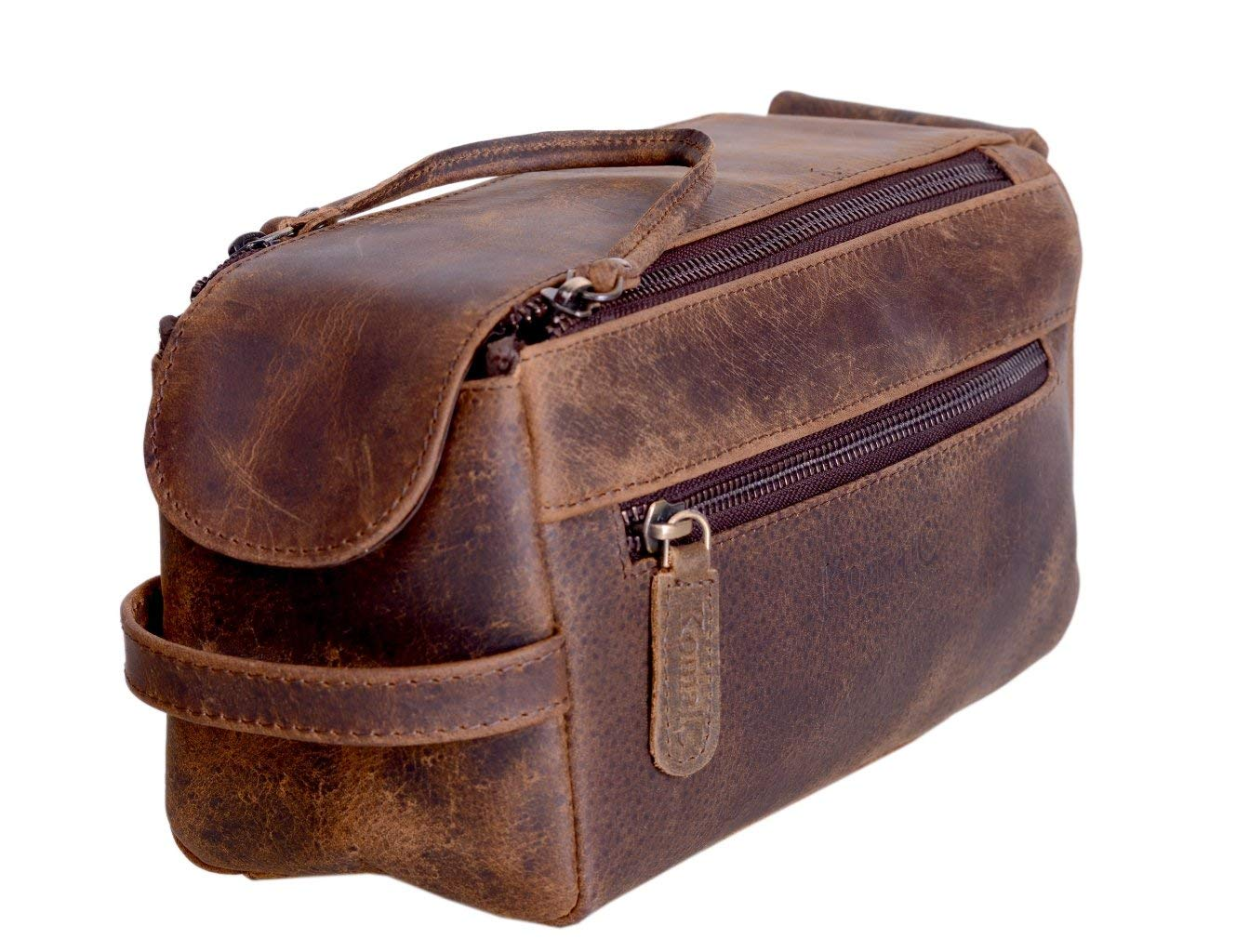 KOMALC Leather Travel Dopp Kit
