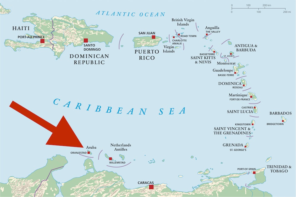 Aruba on a map