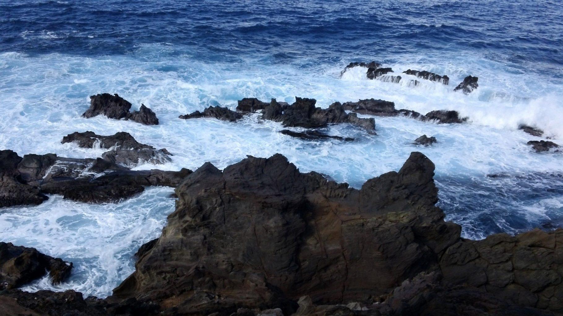 the rocky coastline of Easter Island