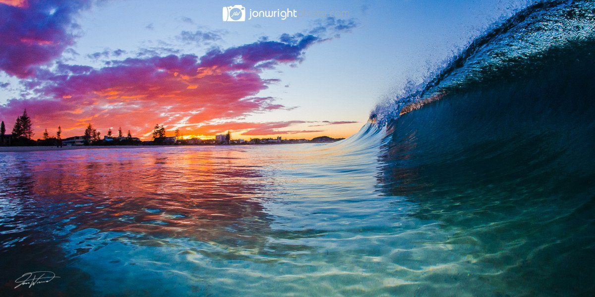 Gold Coast ocean waves sunset