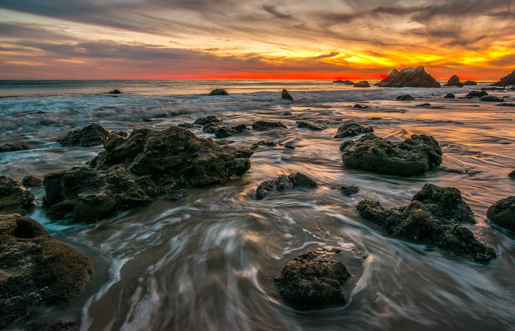 Malibu Beach ocean sunset