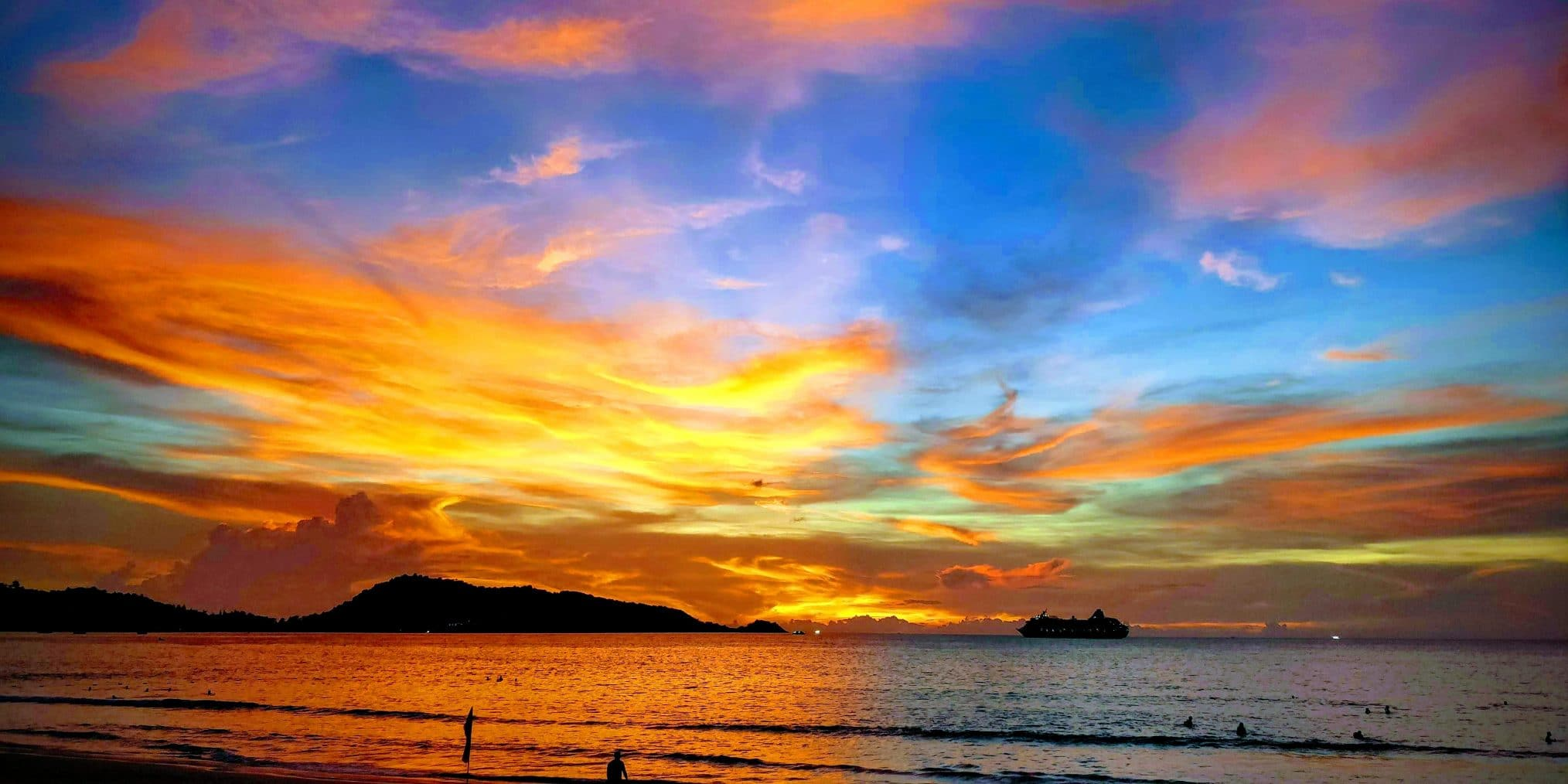 an ocean sunset in Phuket