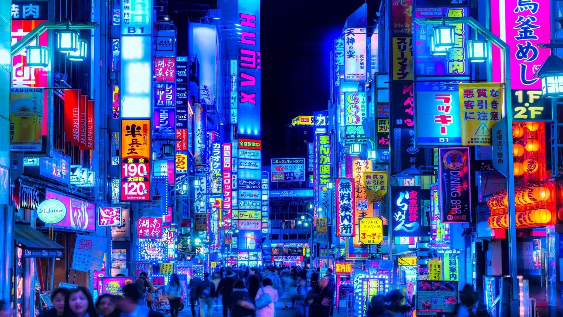 neon lights of Tokyo